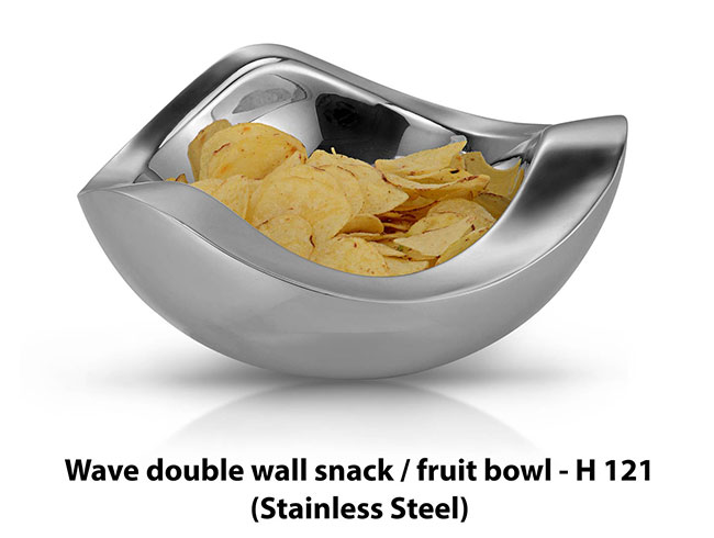 Wave double wall fruit bowl (SS) - H121