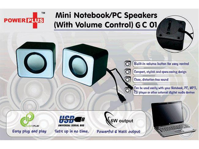 GC01 Power Plus mini Notebook / PC speakers (with volume control)