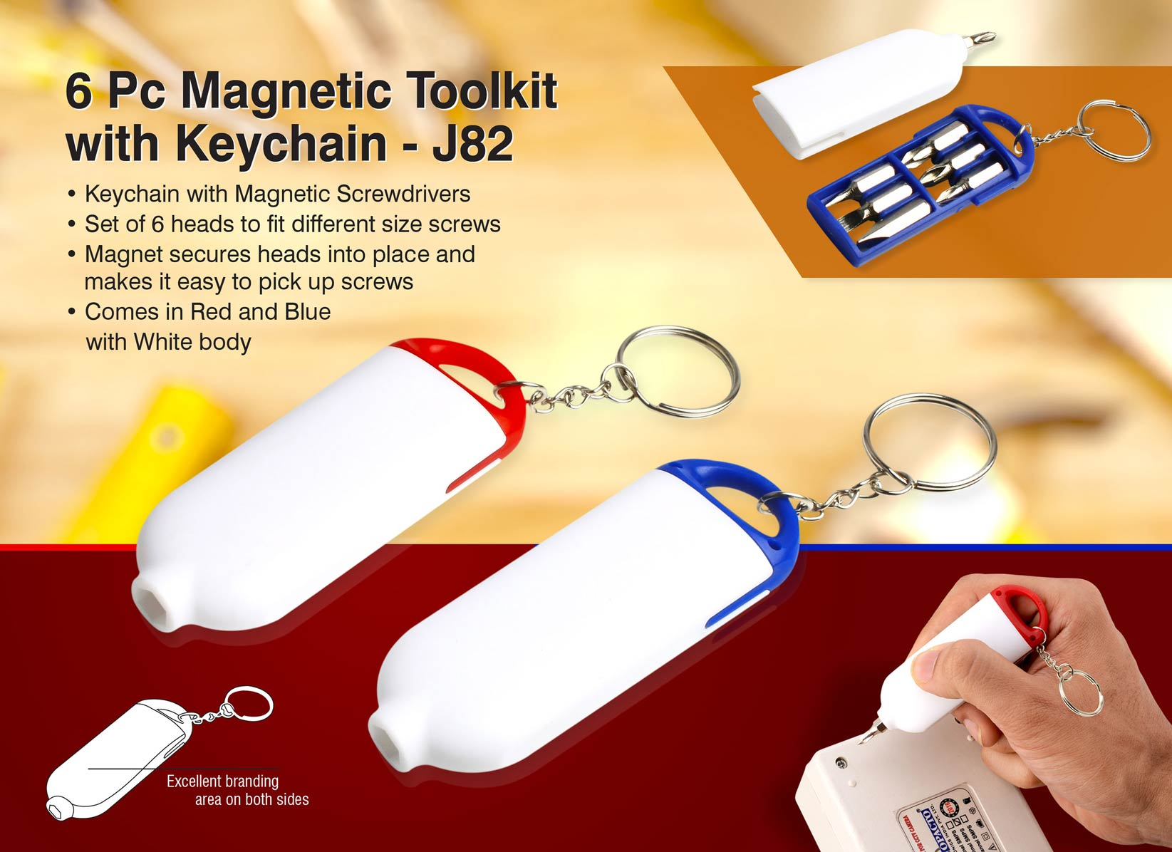 J82 - 6 pc magnetic toolkit with keychain