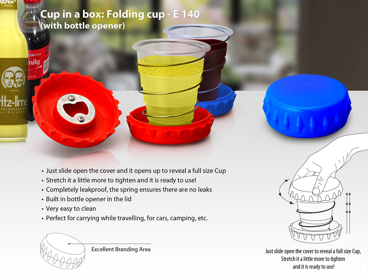 E140 - Cup in a box: Folding cup (with bottle opener)