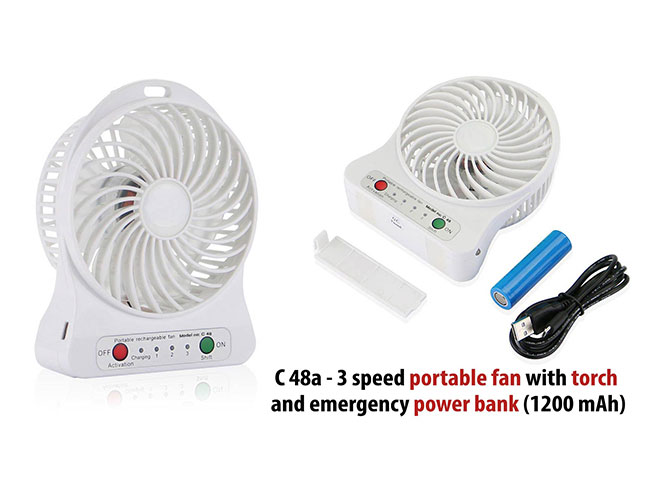3 speed portable fan with torch and emergency power bank (1,200 mAh) - C48A