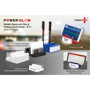 B71 - Powerglow Mobile stand with Pen and visiting card holder (Grass style)