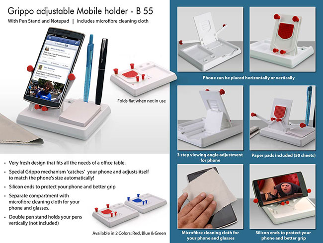 Grippo Mobile holder with angle adjustment, pen stand, and notepad - B55