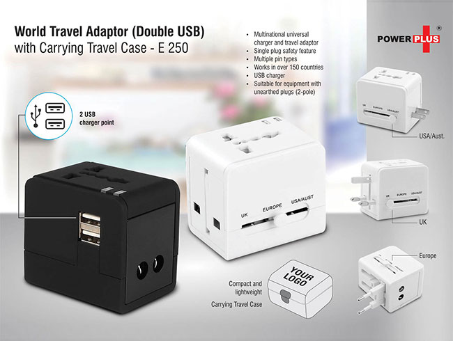 World travel Adaptor (Double USB) with carrying travel case - E250