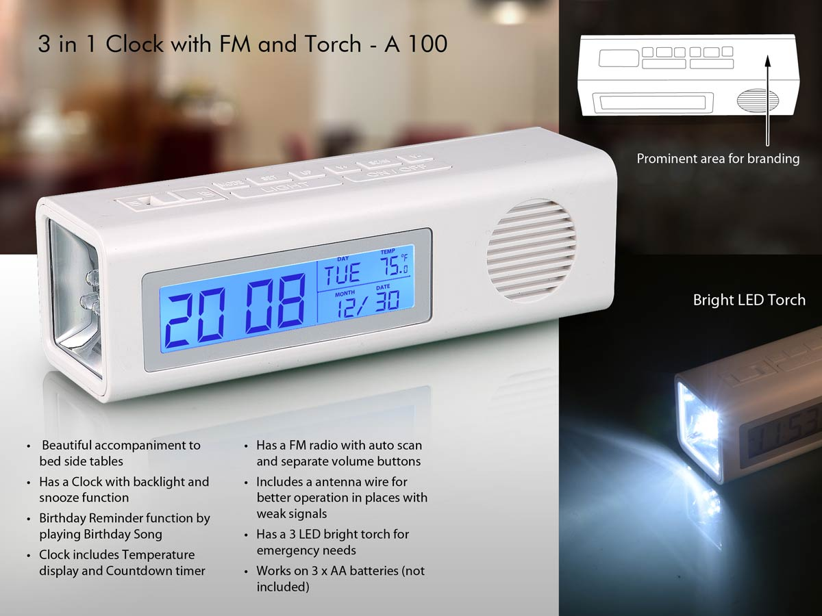 A100 - 3 in 1 Clock with FM and Torch