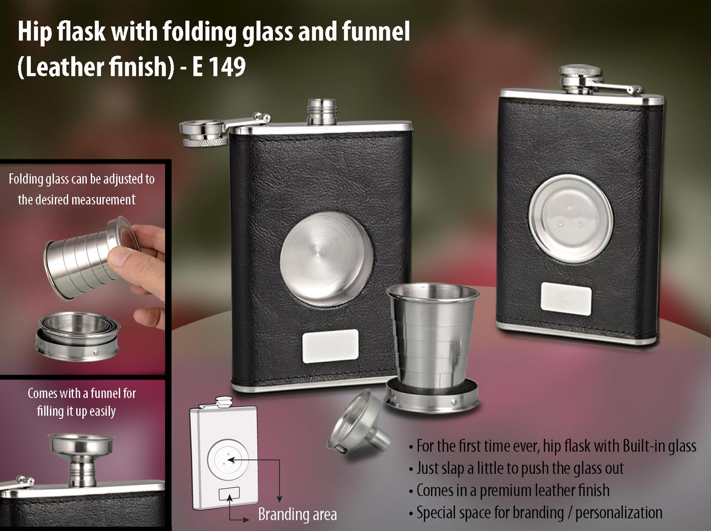 Hip flask with folding glass and funnel (Leather finish)