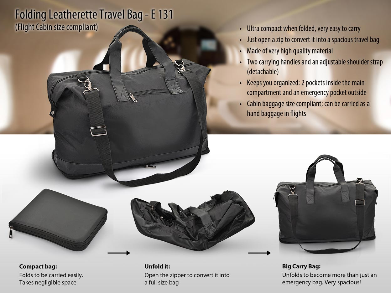E131 - Folding Leatherette Travel Bag (Flight cabin size compliant)