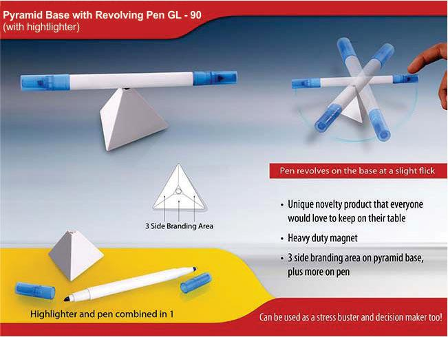 GL90 - Pyramid stand with Revolving pen & highlighter