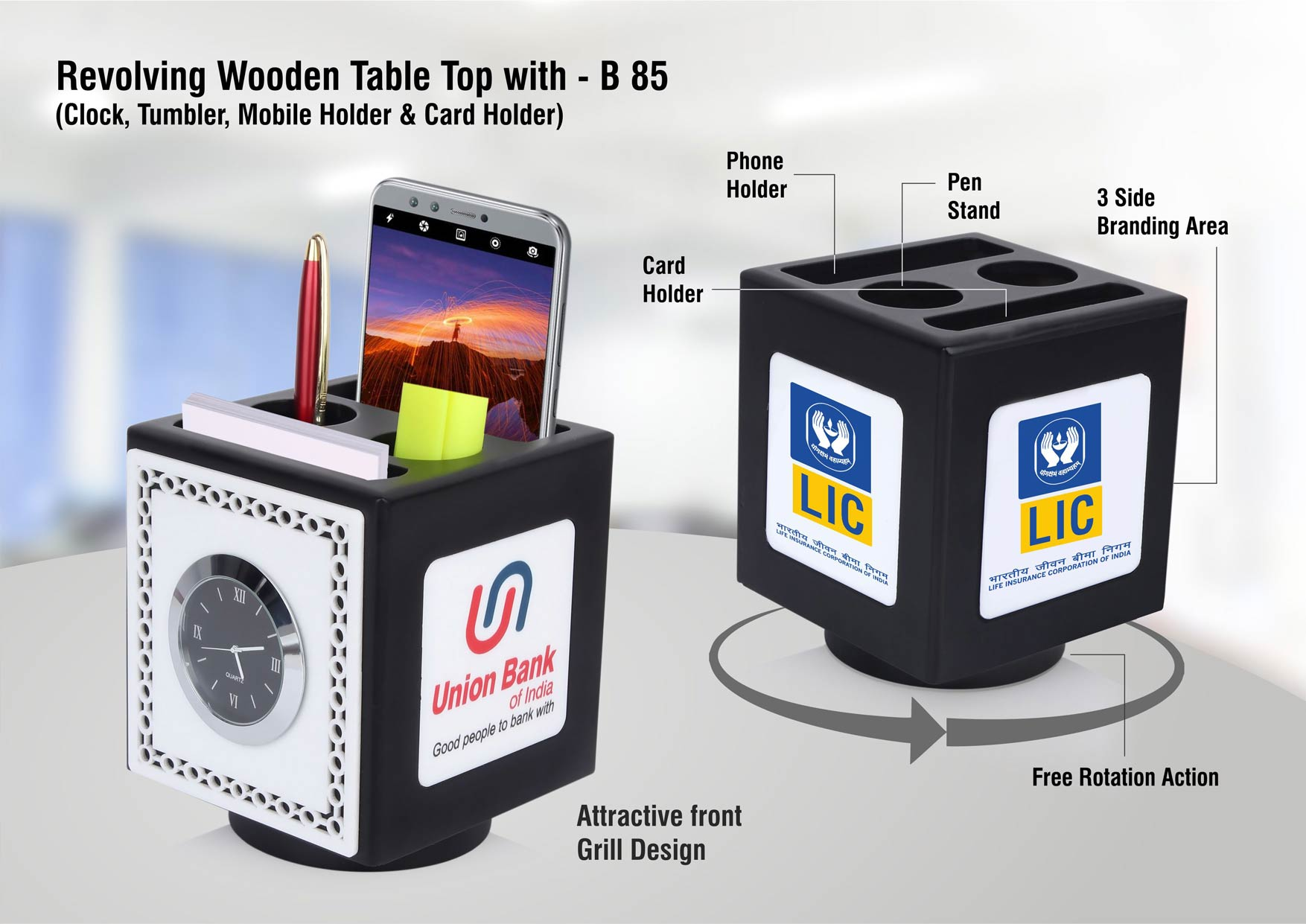 B85 - Revolving wooden table top with Clock, Tumbler, mobile holder and Card holder