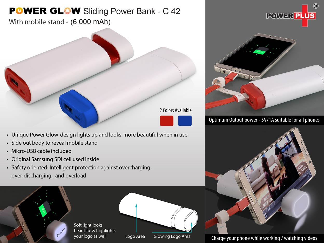 C42 - POWERGLOW SLIDING POWER BANK WITH MOBILE STAND (6,000 MAH)