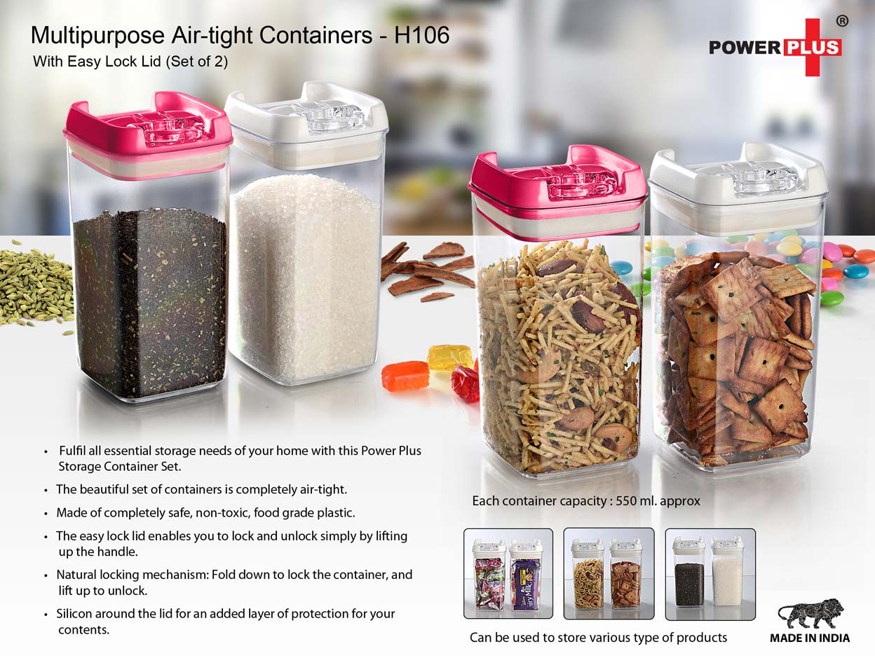 H106 - MULTIPURPOSE AIR-TIGHT CONTAINERS WITH EASY LOCK LID (SET OF 2)