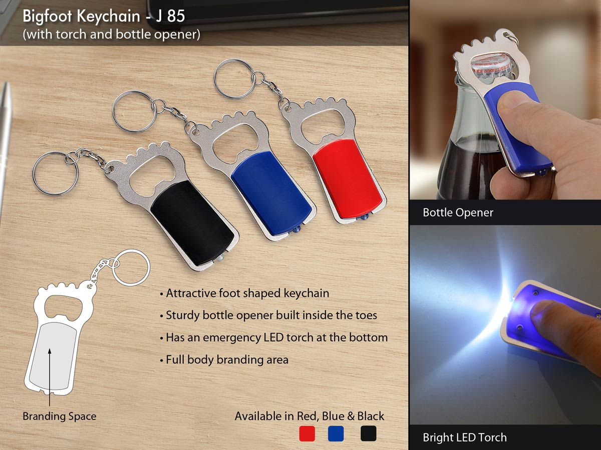 J85 - Bigfoot Keychain with torch and bottle opener