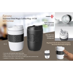 H138 - FERRERO STAINLESS STEEL MAGIC COFFEE MUG (300 ML APPROX) (SPILL FREE DESIGN)
