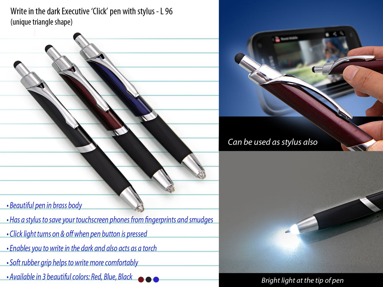 L96 - Write in the dark executive Click pen with stylus (brass body)
