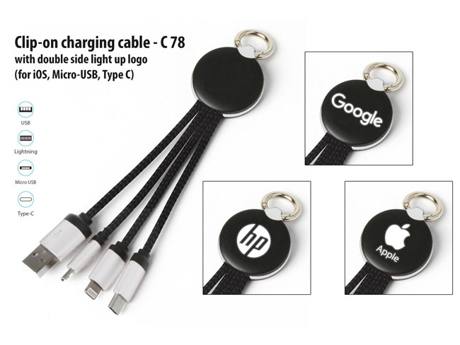 C78 - CLIP-ON CHARGING CABLE WITH DOUBLE SIDE LIGHT UP LOGO (IOS, MICRO-USB, TYPE C)