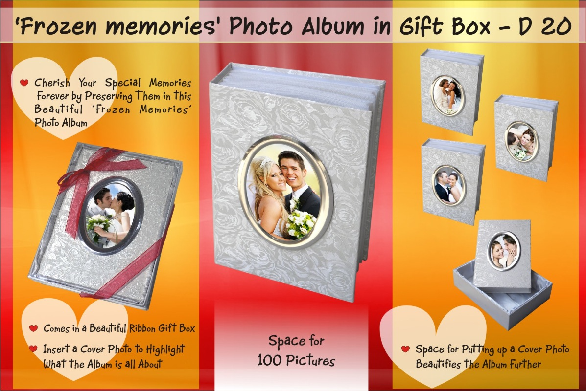"D20 - Frozen memories Photo album in Ribbon Gift box (100 pictures) (5"" x 7"")"