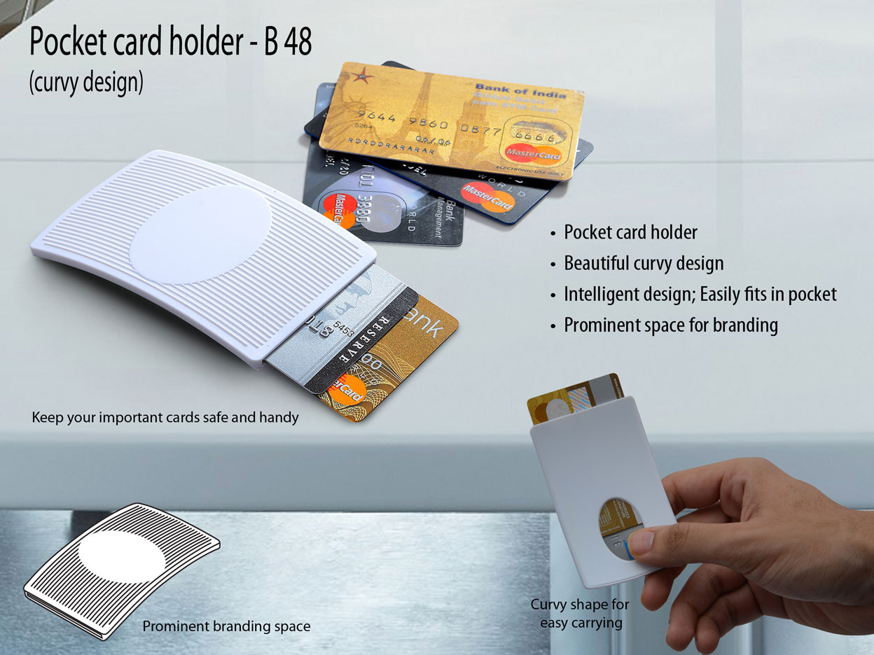 B48 - Pocket card holder (curvy design) (for credit cards)