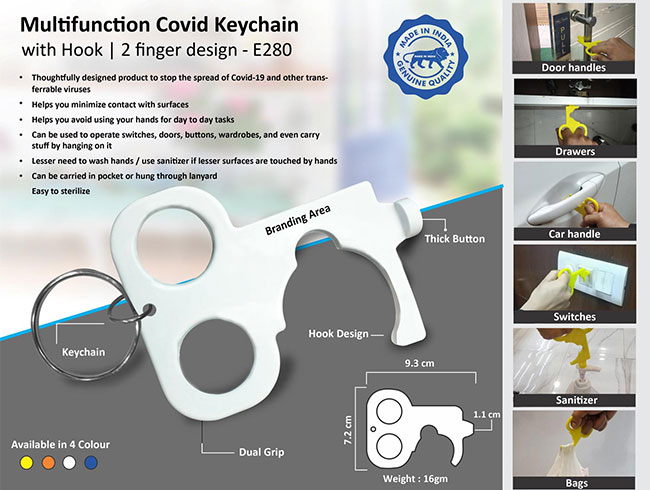 Multifunction Covid keychain with carry bag hook | 2 finger design - E280
