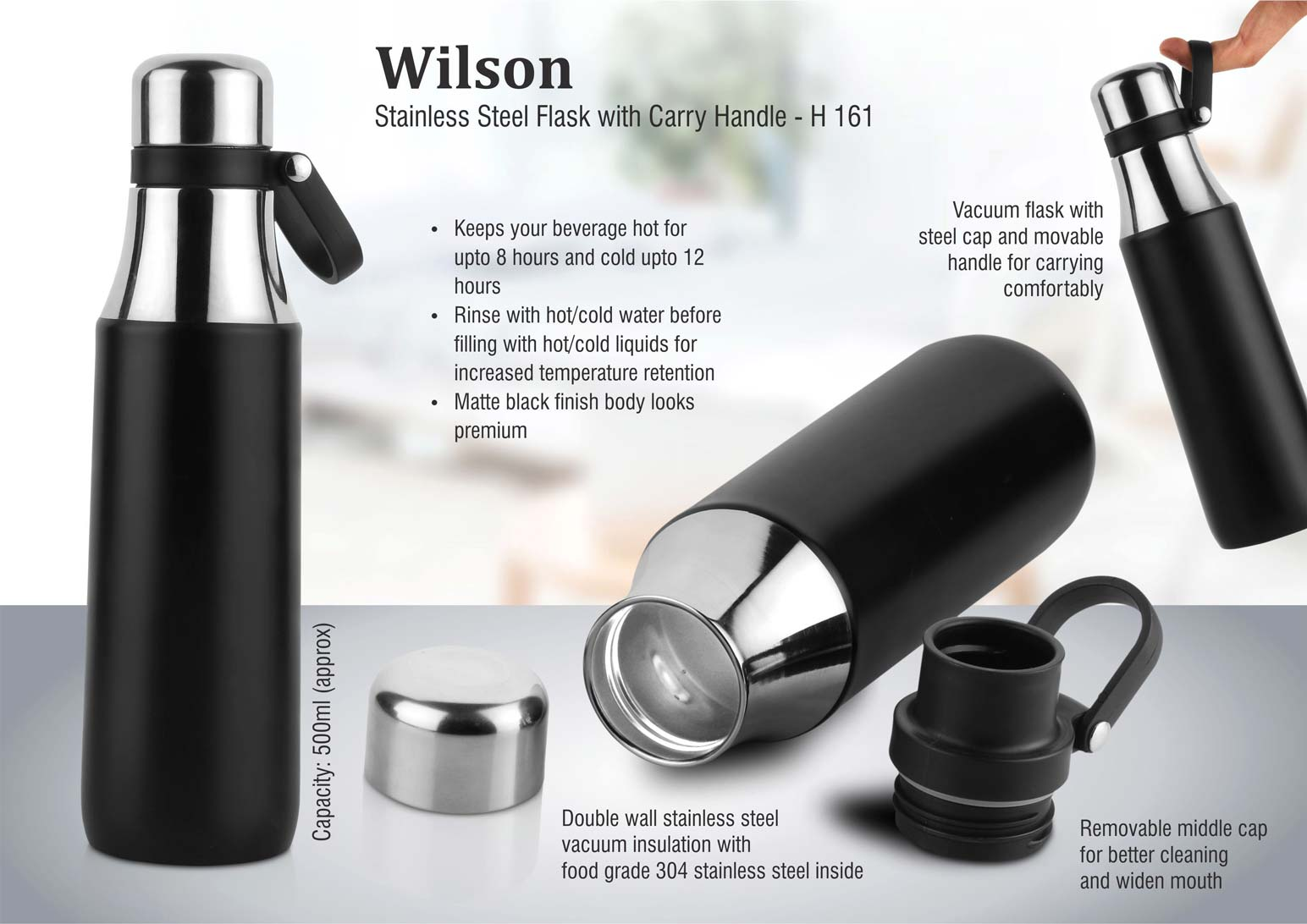 H161 - Wilson: Stainless steel flask with carry handle (500 ml approx)