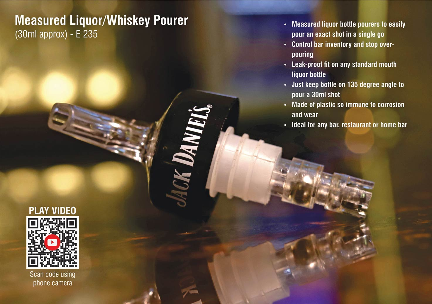 E235 - Measured Liquor/whiskey pourer (30ml approx)