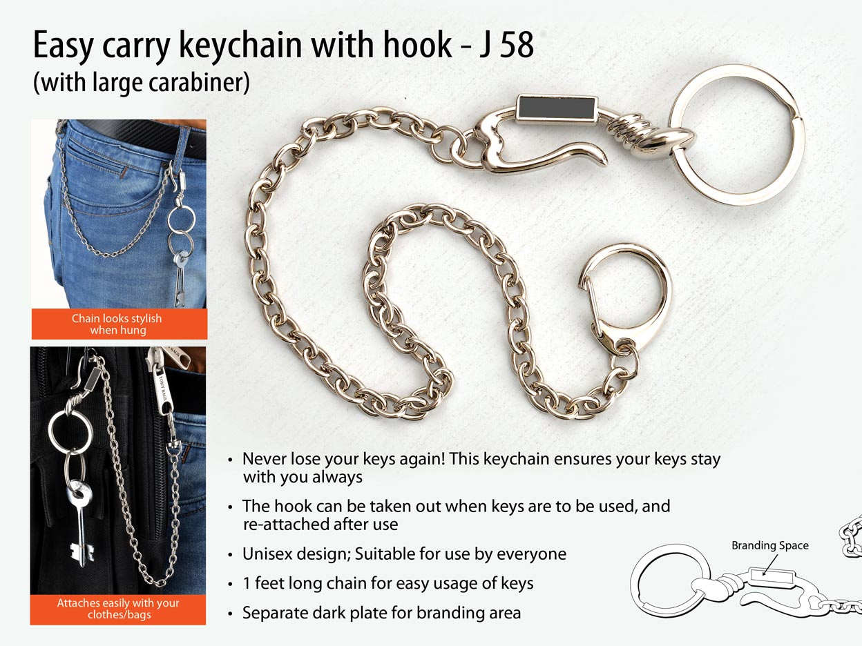 J58 - Easy carry keychain with hook (with large carabiner)