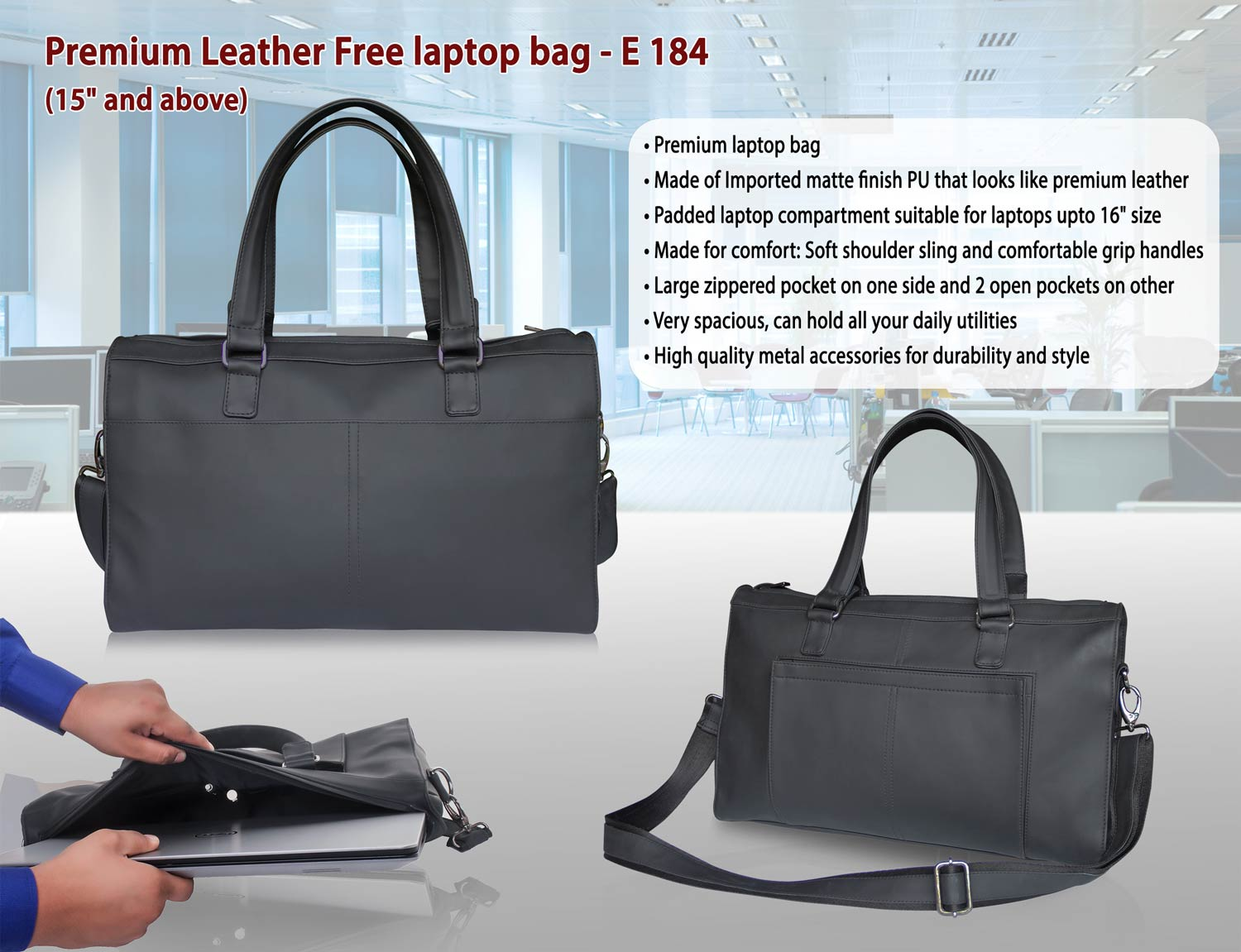 "E184 - PREMIUM LEATHER FREE LAPTOP BAG ( 15"" AND ABOVE)"