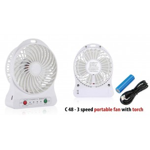 C48 - 3 SPEED PORTABLE FAN WITH TORCH