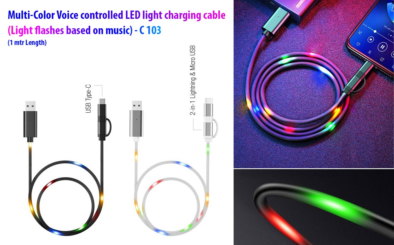 C103 - Voice controlled LED light charging cable (Multicolor) | Light flashes based on music | 1 mtr Length
