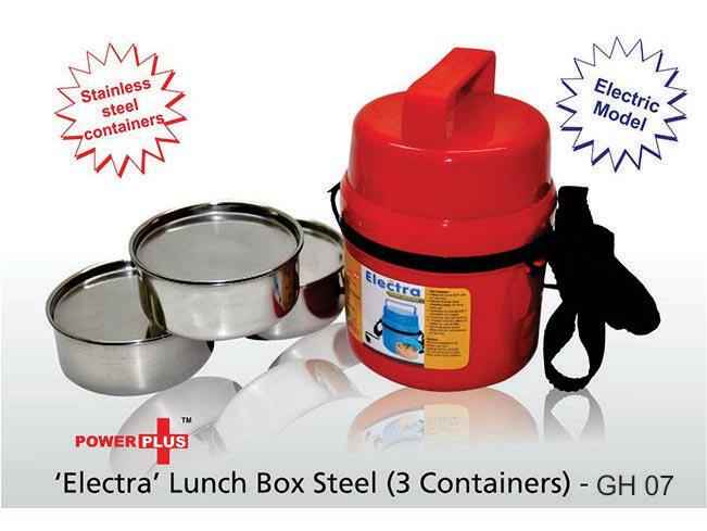 GH07 - Power Plus Electra Lunch Box Steel - 3 Container