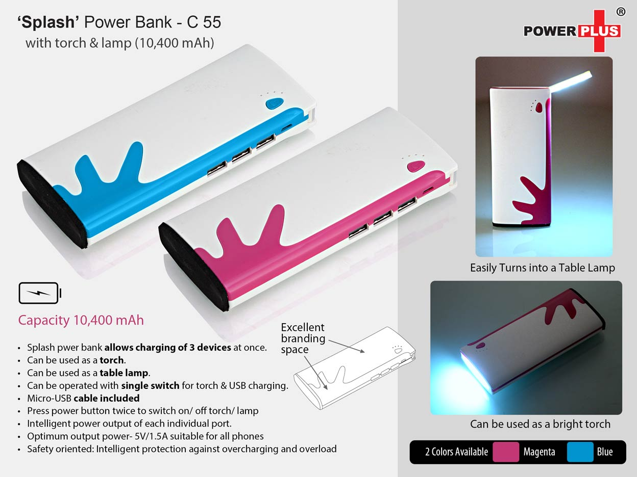 C55 - SPLASH POWER BANK (WITH TORCH AND TABLE LAMP) (10,400 MAH)