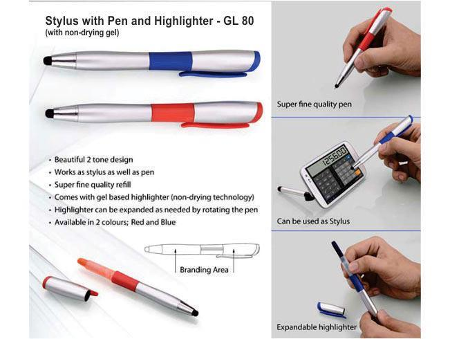 GL80 - Stylus pen with non-drying Gel highlighter