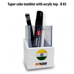 B83 - Taper cube tumbler with acrylic top