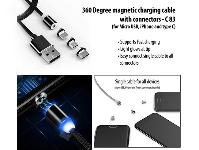 360 Degree magnetic charging cable with connectors | Supports Fast charging | Light glow at tip (for Micro USB, iPhone and type C) - C83