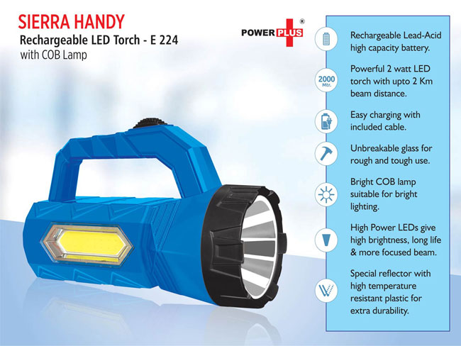 E224 - SIERRA HANDY RECHARGABLE LED TORCH WITH COB LAMP
