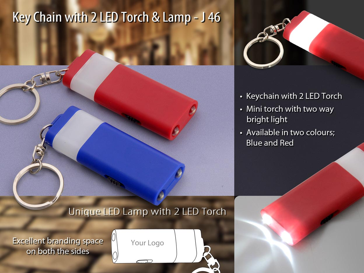 J46 - Keychain with 2 LED torch and lamp