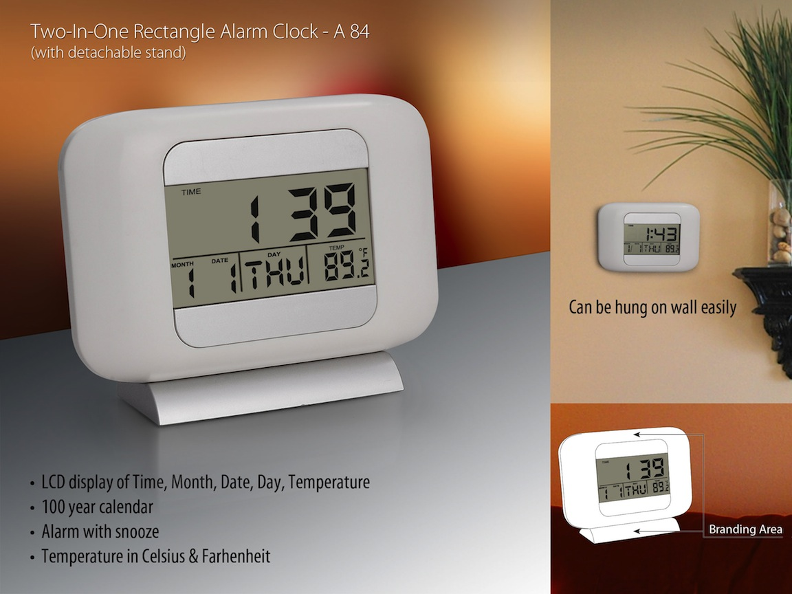 A84 - 2 in 1 Rectangle clock with detachable stand