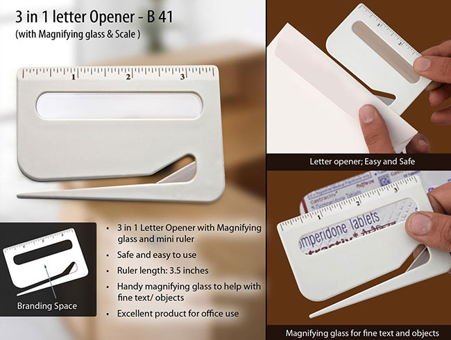 Letter opener with magnifier & ruler - B41