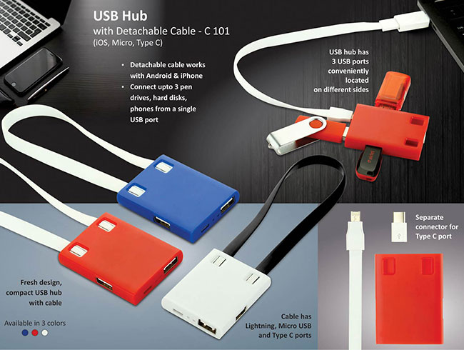 USB Hub with detachable cable (iOS, Micro, Type C) | 3 USB ports - C101