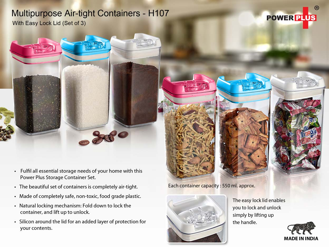 H107 - MULTIPURPOSE AIR-TIGHT CONTAINERS WITH EASY LOCK LID (SET OF 3)