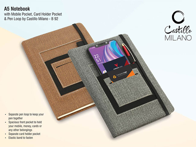 A5 notebook with mobile pocket, card holder pocket & pen loop by Castillo Milano - B92