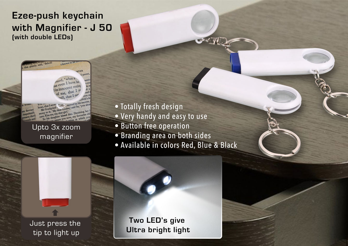 J50 - Double LED Ezee push keychain with Magnifier