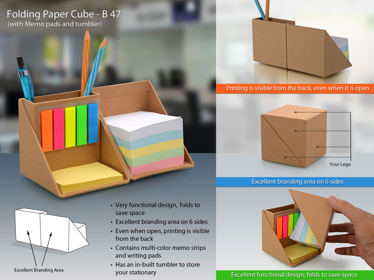 B47 - Folding paper cube (with memopad and tumbler)