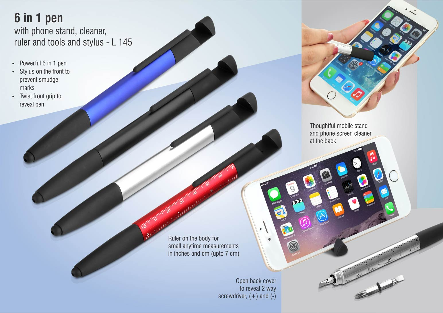 L145 - 6 in 1 pen with phone stand, cleaner, ruler and tools and stylus