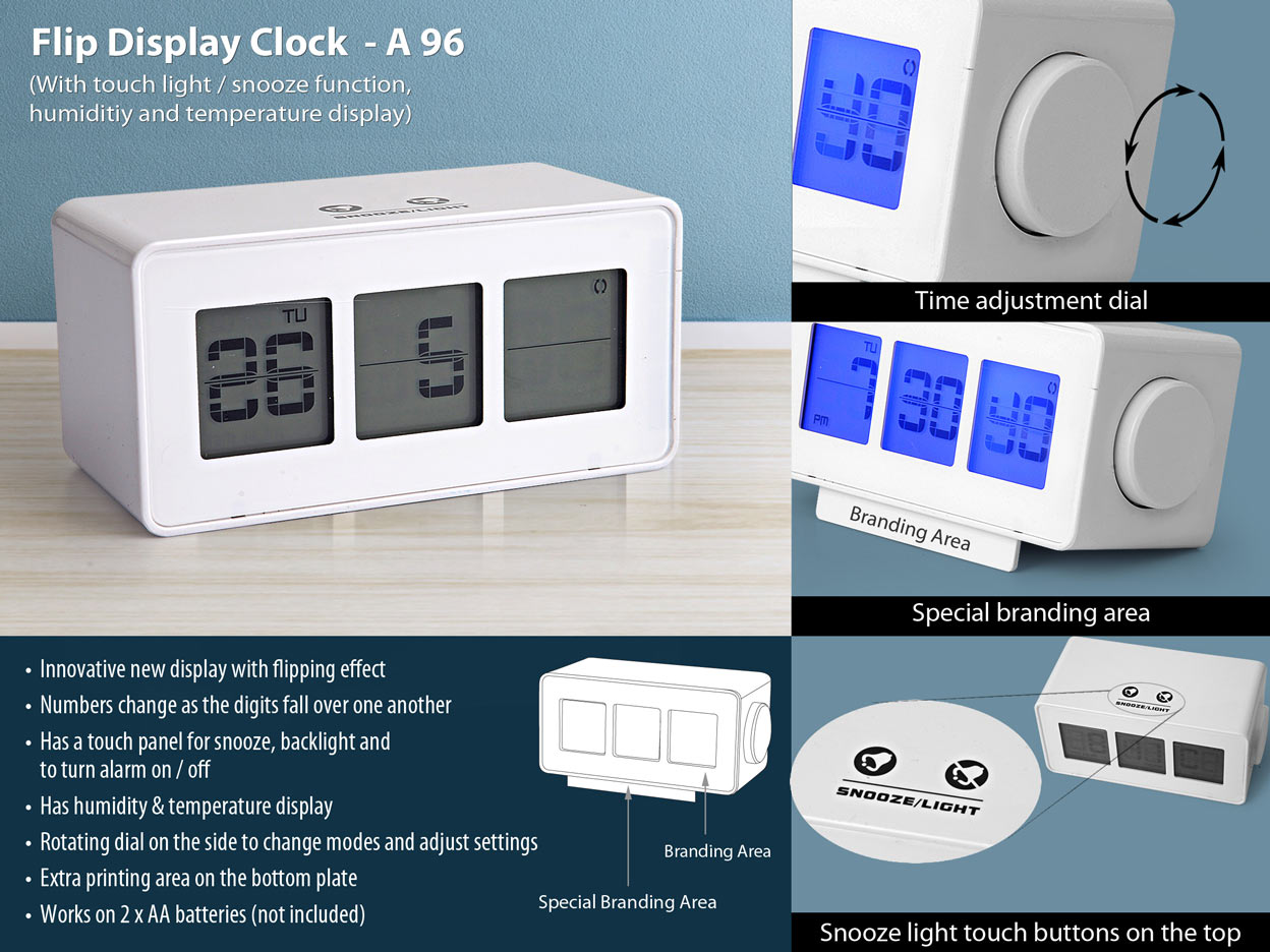 A96 - Flip display clock with touch light / snooze function