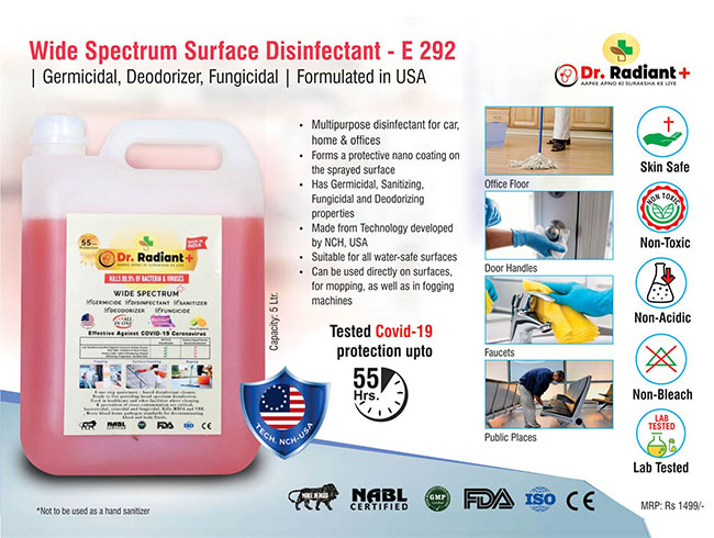 Wide Spectrum Surface Disinfectant | Germicidal, Deodorizer, Fungicidal | Formulated in USA | Tested Covid-19 protection up to 55 hours | 5 Ltr - E292