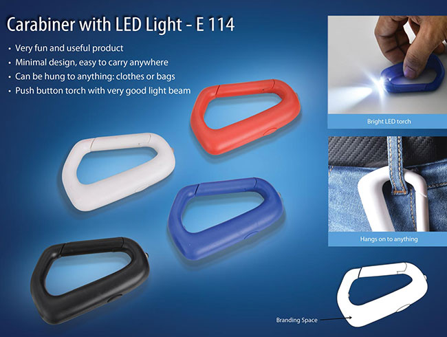 Carabiner with LED light (with battery) - E114