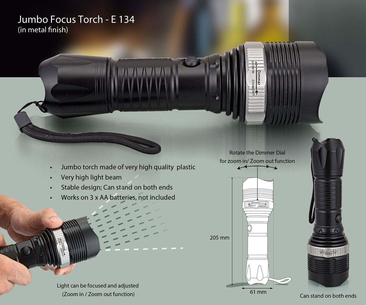 E134 - Jumbo Focus Torch (with zoom in/out function)