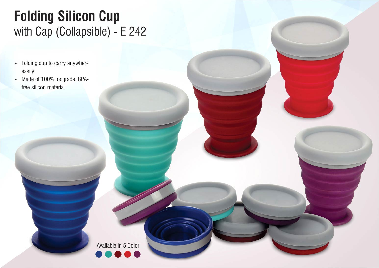 E242 - Folding silicon cup with cap (collapsible)