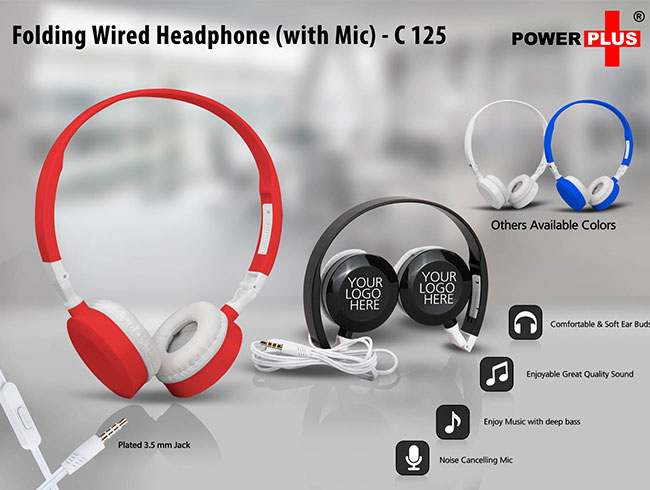 Folding Wired Headphone set (with Mic) - C125