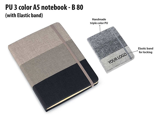 PU 3 color A5 notebook with elastic fastener - B80